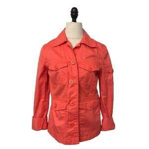 🛍J. Crew orange cotton safari jacket coat size XS